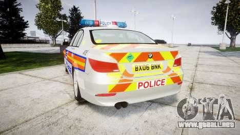 BMW 525d E60 2006 Police [ELS] para GTA 4 Vista posterior izquierda