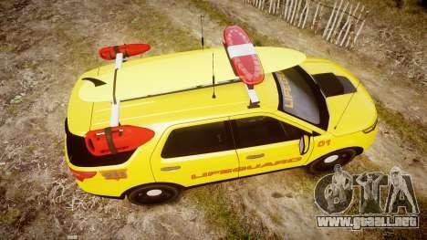 Ford Explorer 2013 Lifeguard Beach [ELS] para GTA 4 visión correcta