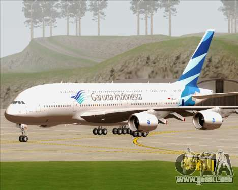 Airbus A380-800 Garuda Indonesia para GTA San Andreas vista hacia atrás