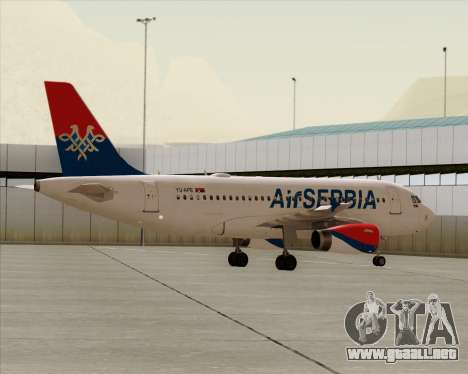 Airbus A319-100 Air Serbia para vista inferior GTA San Andreas