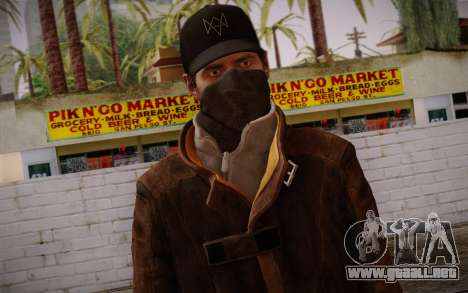 Aiden Pearce from Watch Dogs v4 para GTA San Andreas tercera pantalla