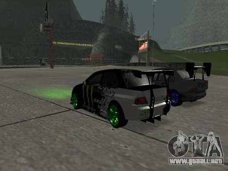 Mitsubishi Lancer Evo 9 Monster Energy para GTA San Andreas vista posterior izquierda