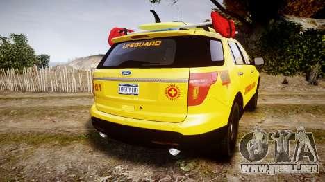 Ford Explorer 2013 Lifeguard Beach [ELS] para GTA 4 Vista posterior izquierda