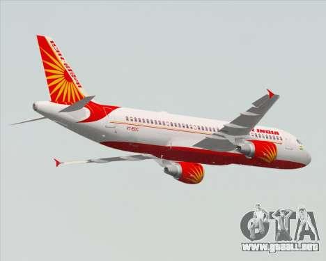 Airbus A320-200 Air India para vista lateral GTA San Andreas