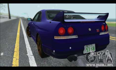 Nissan Skyline R33 para GTA San Andreas vista posterior izquierda