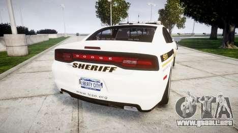 Dodge Charger 2013 Sheriff [ELS] v3.2 para GTA 4 Vista posterior izquierda