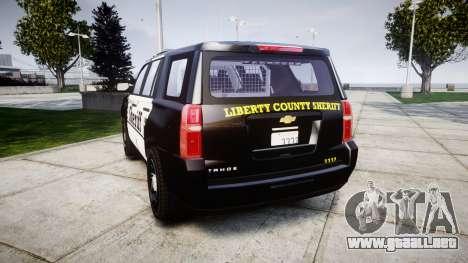 Chevrolet Tahoe 2015 County Sheriff [ELS] para GTA 4 Vista posterior izquierda