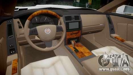 Cadillac XLR-V 2009 para GTA 4 vista hacia atrás