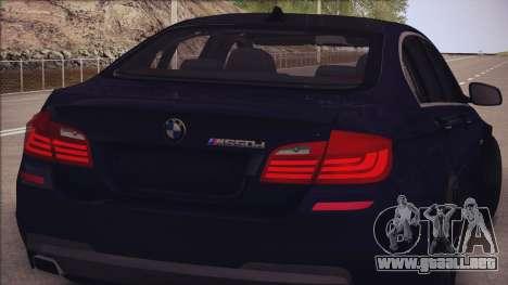BMW M550d 2014 para GTA San Andreas vista hacia atrás