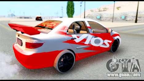 Toyota Vios TRD Racing para la visión correcta GTA San Andreas