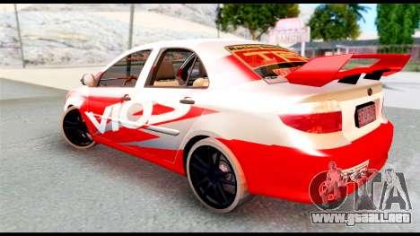 Toyota Vios TRD Racing para GTA San Andreas left