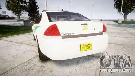 Chevrolet Impala Martin County Sheriff [ELS] para GTA 4 Vista posterior izquierda