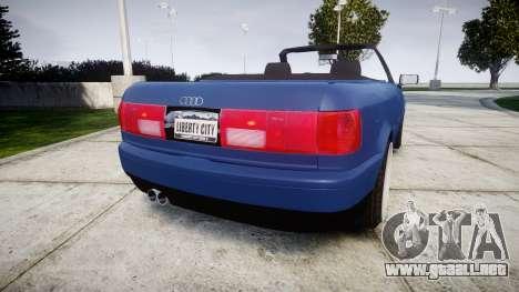 Audi 80 Cabrio us tail lights para GTA 4 Vista posterior izquierda