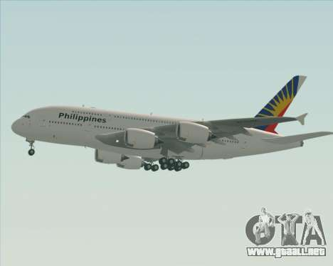 Airbus A380-800 Philippine Airlines para vista inferior GTA San Andreas