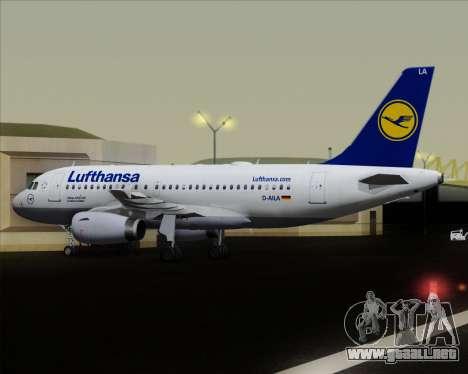 Airbus A319-100 Lufthansa para vista inferior GTA San Andreas