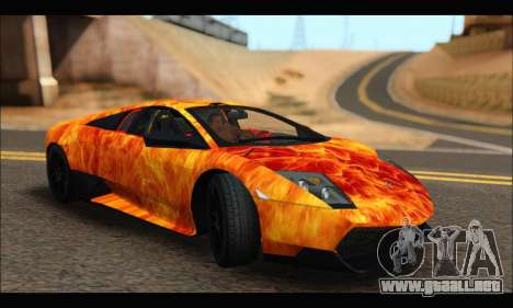 Lamborghini Murcielago In Flames para GTA San Andreas left
