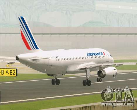 Airbus A319-100 Air France para vista inferior GTA San Andreas
