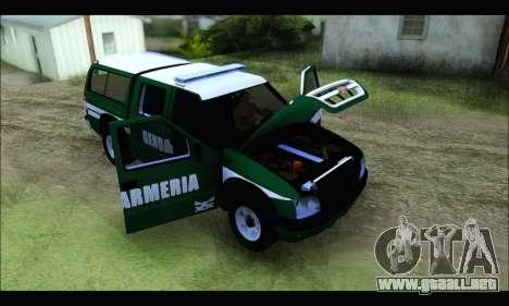 Chevrolet S-10 Gendarmeria para GTA San Andreas vista hacia atrás