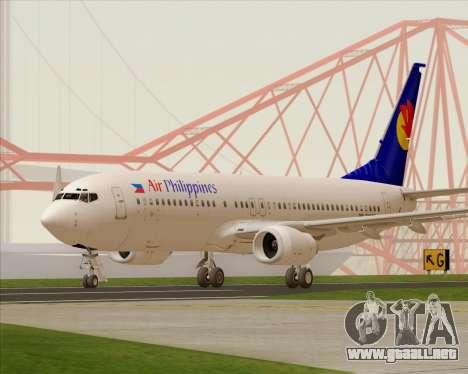 Boeing 737-800 Air Philippines para GTA San Andreas vista posterior izquierda