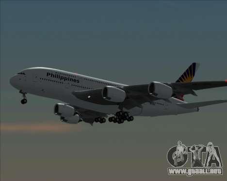 Airbus A380-800 Philippine Airlines para GTA San Andreas vista posterior izquierda