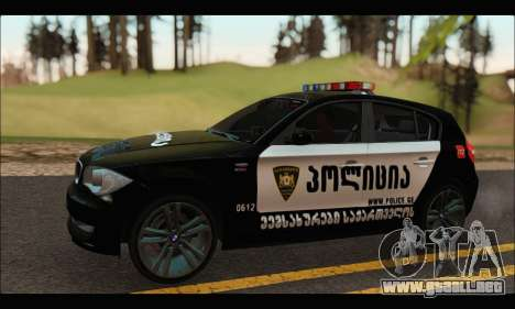 BMW 120i GEO Police para GTA San Andreas left
