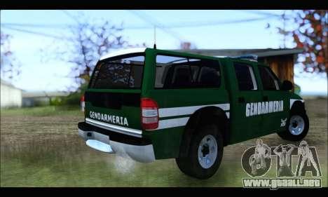 Chevrolet S-10 Gendarmeria para GTA San Andreas vista posterior izquierda
