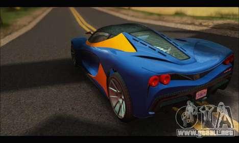 Grotti Turismo R v2 (GTA V) para GTA San Andreas vista posterior izquierda