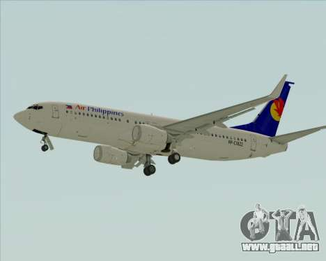 Boeing 737-800 Air Philippines para GTA San Andreas vista hacia atrás