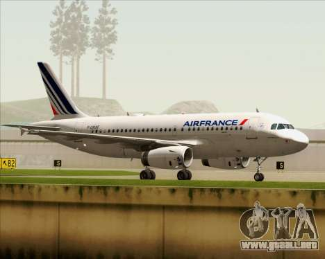 Airbus A319-100 Air France para vista lateral GTA San Andreas