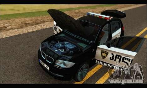 BMW 120i GEO Police para visión interna GTA San Andreas