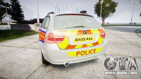 BMW 325d E91 2009 Metropolitan Police [ELS] para GTA 4 Vista posterior izquierda