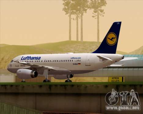 Airbus A319-100 Lufthansa para GTA San Andreas left