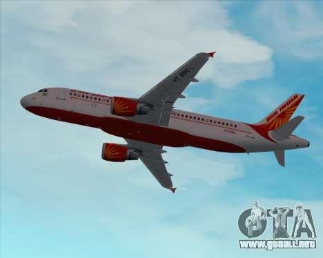 Airbus A320-200 Air India para vista inferior GTA San Andreas