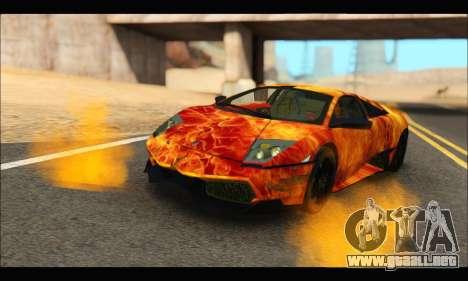 Lamborghini Murcielago In Flames para GTA San Andreas vista posterior izquierda