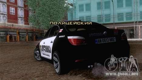 BMW M5 E60 Georgia Police para GTA San Andreas left