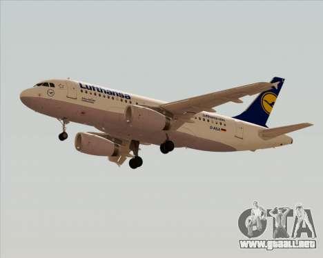 Airbus A319-100 Lufthansa para GTA San Andreas vista posterior izquierda