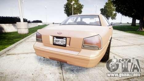 GTA V Vapid Stanier para GTA 4 Vista posterior izquierda