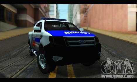 Ford Ranger P.B.A 2015 para GTA San Andreas vista posterior izquierda