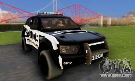 Bowler EXR S 2012 v1.0 Police para GTA San Andreas vista hacia atrás