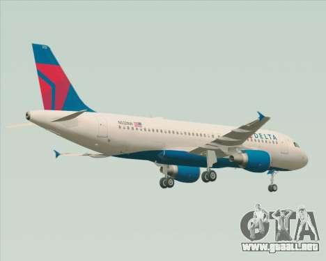 Airbus  A320-200 Delta Airlines para GTA San Andreas vista hacia atrás