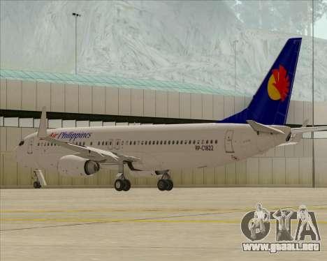 Boeing 737-800 Air Philippines para visión interna GTA San Andreas