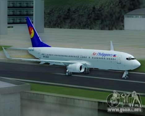 Boeing 737-800 Air Philippines para las ruedas de GTA San Andreas