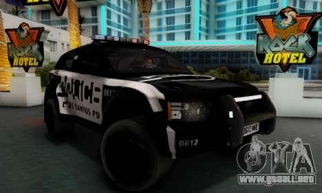Bowler EXR S 2012 v1.0 Police para GTA San Andreas vista posterior izquierda