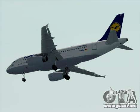 Airbus A319-100 Lufthansa para la vista superior GTA San Andreas