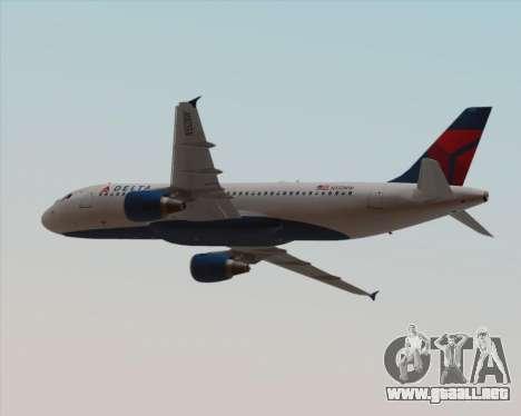 Airbus  A320-200 Delta Airlines para vista inferior GTA San Andreas