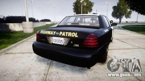 Ford Crown Victoria Highway Patrol [ELS] Slickto para GTA 4 Vista posterior izquierda