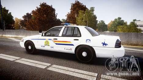 Ford Crown Victoria Canada Police [ELS] para GTA 4 left