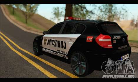 BMW 120i GEO Police para GTA San Andreas vista posterior izquierda