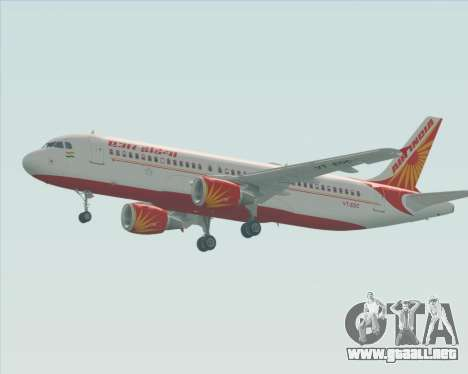 Airbus A320-200 Air India para GTA San Andreas vista posterior izquierda