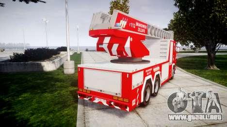 Scania R580 Belgian Fireladder [ELS] para GTA 4 Vista posterior izquierda